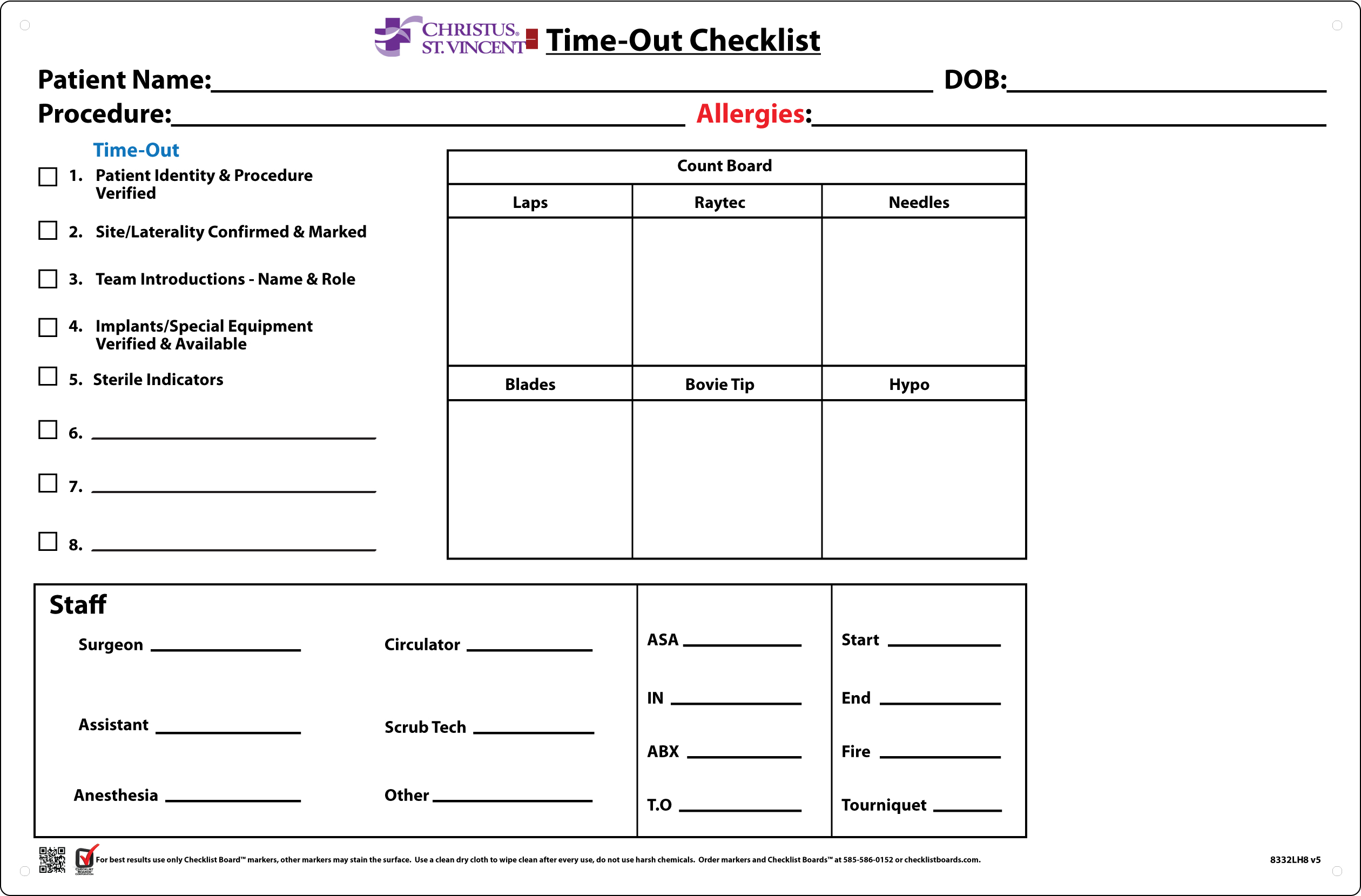 Christus St Vincent Chooses Checklist Boards For Time Outs