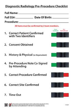 Radiology Checklist Designs