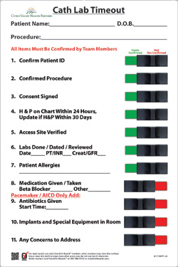 Cath Lab Checklist Designs