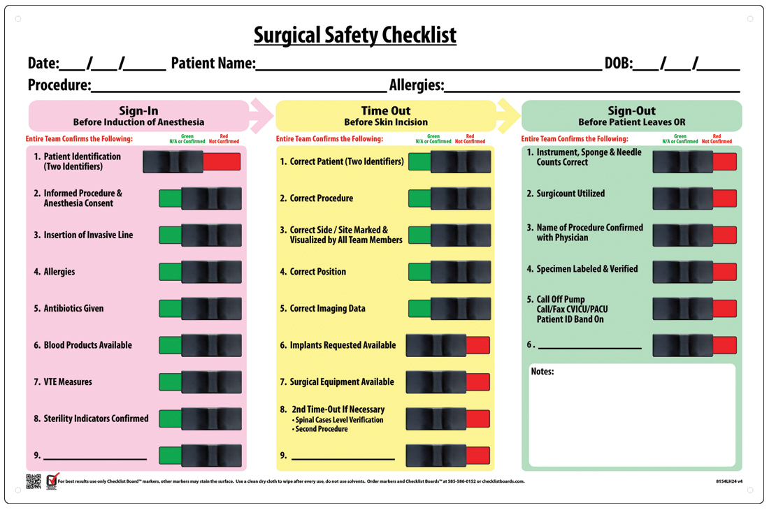 Operating-Room-Checklist Product Photo